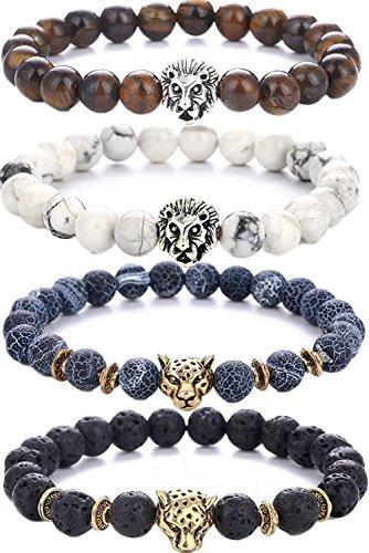 64a0249331d71 Pusheng Lava Rock Stone Bead Bracelets Set Beeded Lion Leopard ...