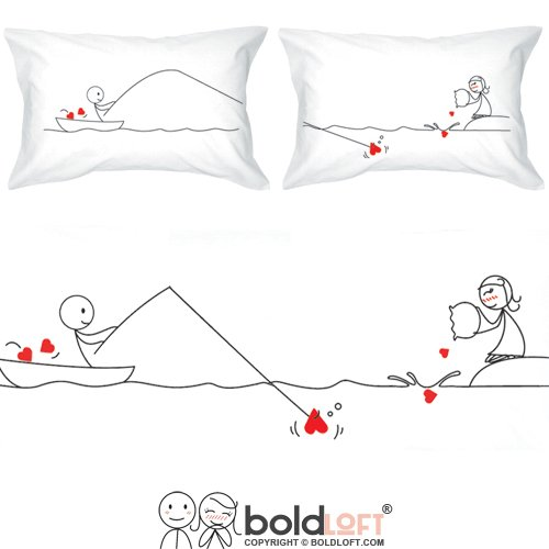 55d667912b BOLDLOFT Catch My Heart His and Hers Matching Couple Pillowcases-Long  Distance Relationship Gifts, Valentines Day Gifts, Long Distance Couples  Gifts, ...