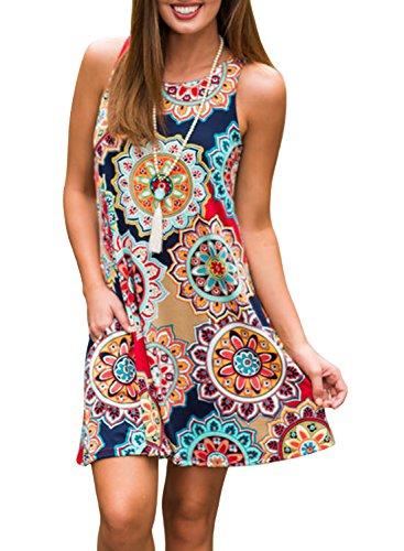 23ef0ca7 ZESICA Women's Summer Sleeveless Damask Print Pocket Loose T-shirt Dress,  Geometric, Small
