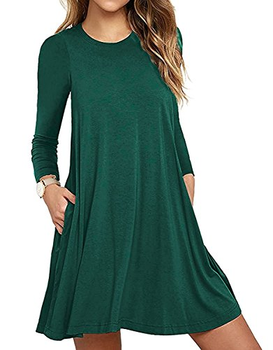 50b424c60dc VEIMEILI Womens Comfy Swing Tunic Long Sleeve Pocket Solid T-Shirt ...