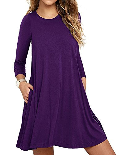 cf11c5c5ffbc9 VEIMEILI Womens Comfy Swing Tunic Long Sleeve Pocket Solid T-Shirt Dress M,  Purple